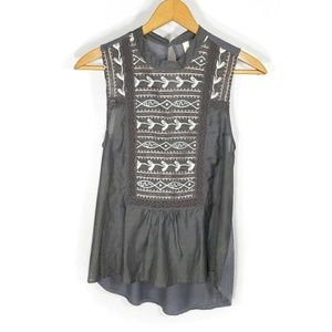 Anthro TINY gray embroidered tank top XS